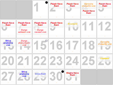 Example of Panchanga calendar